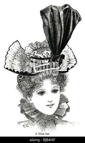 Woman wearing a 1890s virot hat. - Stock Image