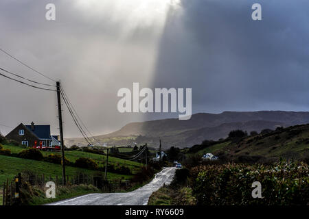 Ardara, County Donegal, Ireland. 12th March 2019. Dramatic and volatile skies as Storm Gareth passes across the northwest coast. Credit: Richard Wayman/Alamy Live News - Stock Image