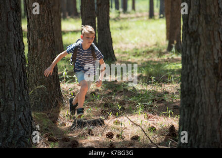 Boy running in woods - Stock Image