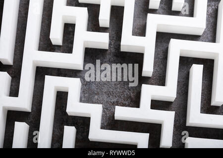 An Elevated View Of Abstract White Labyrinth - Stock Image
