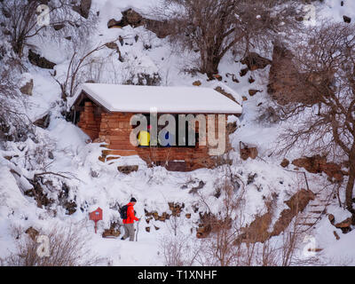 Mile and a half resthouse. Bright Angel Traiil, Grand Canyon National Park, Arizona. - Stock Image