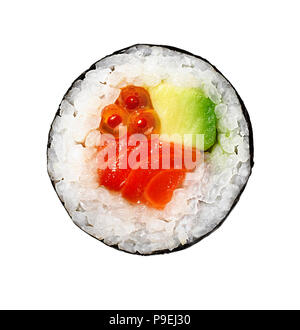 An overhead shot of some circular Sushi - Stock Image