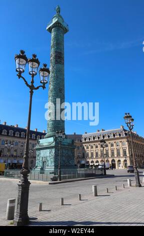 The Vendome column , the Place Vendome at sunny day, Paris, France. - Stock Image