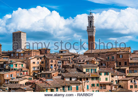 Siena with its Torre del Mangia, Tuscany, Italy - Stock Image