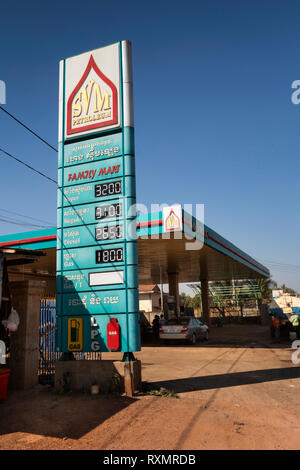 Cambodia, Tboung Khmum Province, Krong Suong, KVM Petroleum, fuel station forecourt and sign - Stock Image