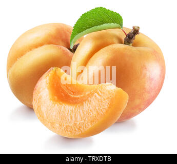 Ripe apricot fruits with a leaf. File contains clipping path. - Stock Image