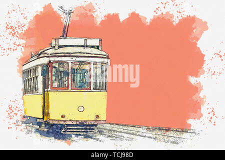 Watercolor sketch or illustration of a traditional yellow tram in Lisbon in Portugal. - Stock Image