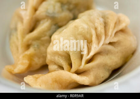 Momos, typical dumplings from Tibet and Nepal as served in Little Tibet, Jackson Heights, Queens, New York, USA - Stock Image