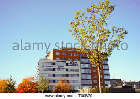 Poznan, Poland - October 31, 2018: Globis office building on the Roosevelta street in the city center. - Stock Image