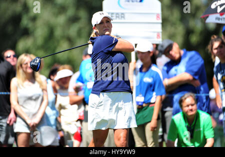 Rancho Mirage, California, USA. 2nd Apr, 2017. Cristie Kerr tees off on the 2nd hole during the final round of the - Stock Image