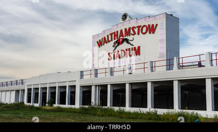 London, England, UK - June 1, 2019: The art deco clock tower of Walthamstow Stadium stands disused after closure of the greyhound racing track. - Stock Image