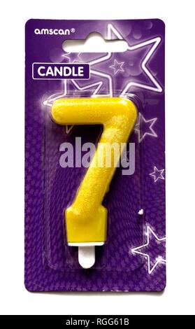 number seven birthday cake candle - Stock Image