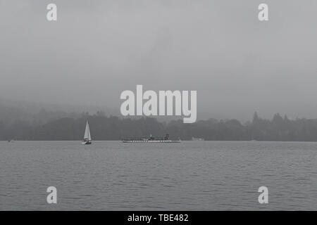 Lake Windermere, Cumbria, UK. 1st June 2019. UK Weather. While the south of the UK basks in sunshine,  the start of June was wet and overcast for visitors to the Lake District. Credit Simon Maycock / Alamy Live News. - Stock Image