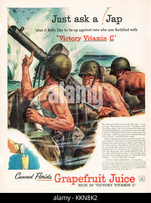 1943 U.S. Magazine Canned Grapefruit Juice Advert - Stock Image
