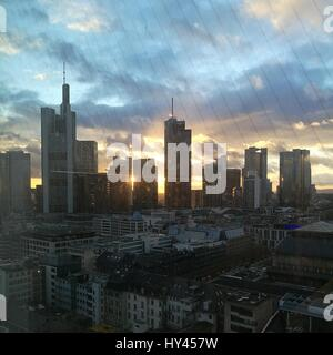 High Angle View Of City At Sunset - Stock Image