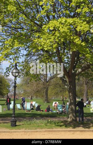 Sunbathing at Hyde Park London - Stock Image