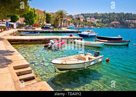 Town of Cavtat waterfront view, Konavle in south Dalmatia, Croatia - Stock Image