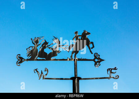 Weather vane at the Robert Burns museum, Alloway, Ayr, Scotland representing an episode in the poem 'Tam O'Shanter' by the Robert Burns, poet - Stock Image