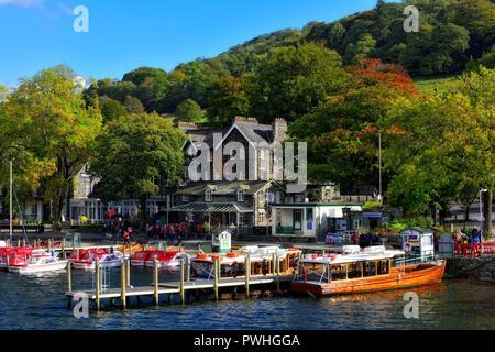 Waterhead boat jetty,Ambleside,Lake district,Cumbria,England,UK - Stock Image