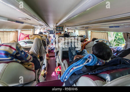 reportage shot of man watching TV in long distance sleeper bus in Asia, day time - Stock Image