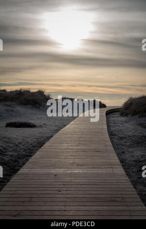 Wooden walkway leading to the beach at Sola Beach, Stavanger, Norway. - Stock Image