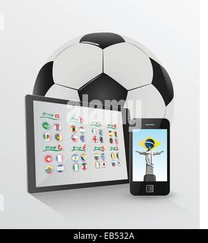 World cup on media device concept - Stock Image