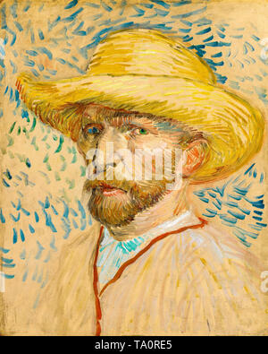 Vincent van Gogh, Self Portrait with Straw Hat, 1887 - Stock Image