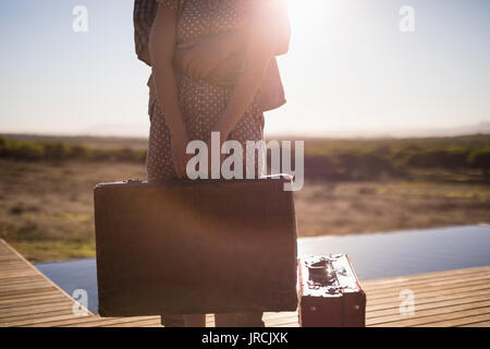 View of wooden deck - Stock Image
