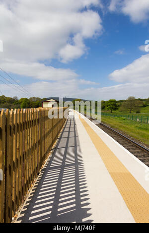 Burrs Country Park station on the East Lancashire Railway. This new railway station has been built to serve the Burrs Country Park and caravan site. - Stock Image
