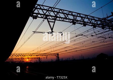 Stratford Railway Station at dusk, Stratford East London 1990 - Stock Image