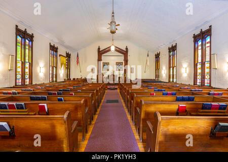 The interior of Trinity United Methodist Church in Oak Bluffs, Massachusetts on Martha's Vineyard. - Stock Image