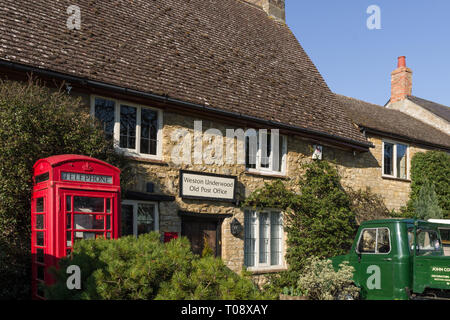 The Old Post Office, now a private residence, in the pretty village of Weston Underwood, Buckinghamshire, UK - Stock Image