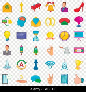 Seminar icons set, cartoon style - Stock Image
