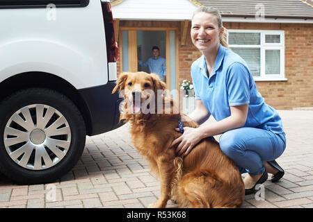 Portrait Of Woman With Van Running Dog Walking Service - Stock Image
