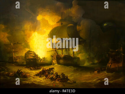 The Destruction of L'Orient at the Battle of the Nile, 1st August 1798, George Arnald, 1825-1827, - Stock Image