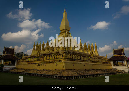 The Phat That Luang in Vientiane, Laos - Stock Image