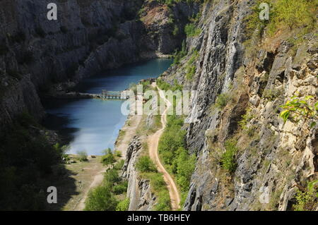 Big America, Czech Grand Canyon, is a partly flooded, abandoned limestone quarry near Morina village, Central Bohemian Region, Czech Republic, August  - Stock Image