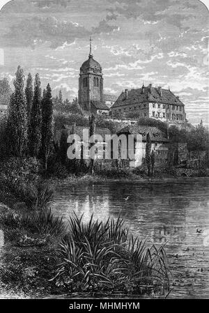 Morteau in the Jura mountains        Date: 19th century - Stock Image