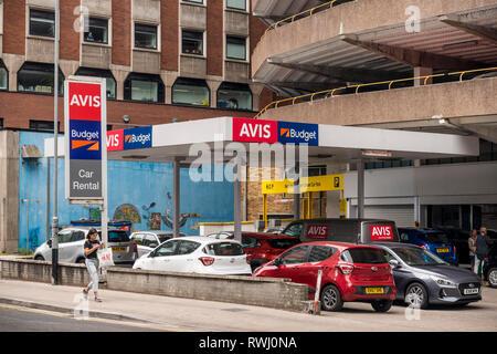 Avis and Budget Car Rental branch, Bristol, UK - Stock Image