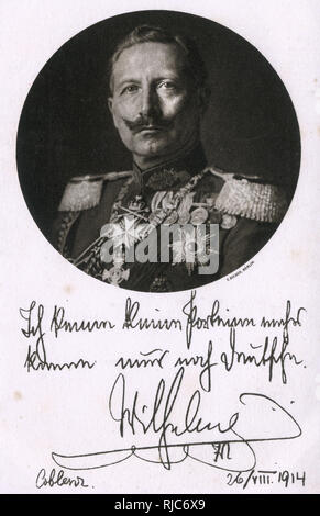 An inset portrait accompanies a message to the German people from Kaiser Wilhelm II a month after the start of the First World War - 26th August 1914 (the war began on 28th July 1914). - Stock Image