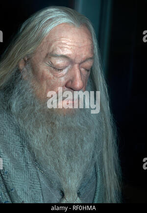A detailed waxwork model of Sir Michael  Gambon CBE  as Albus Dumbledore, at the Warner Brothers Studio Tour,  Leavesdon - Stock Image