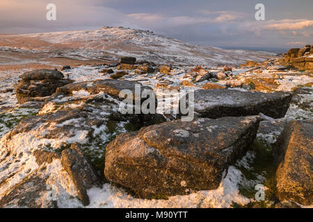West Mill Tor from Rowtor on a snowy winter morning, Dartmoor National Park, Devon, England. Winter (December) 2017. - Stock Image