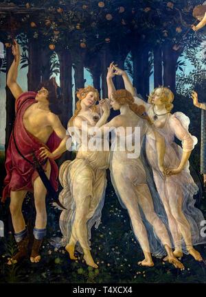 Mercury and the Three Graces, Primavera, Spring, detail, Sandro Botticelli, circa 1482, Galleria degli Uffizi, Uffizi Gallery, Florence, Tuscany, Ital - Stock Image