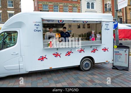 Codroephenia Fish and Chip van outside the Market in Darlington Co. Durham England UK - Stock Image