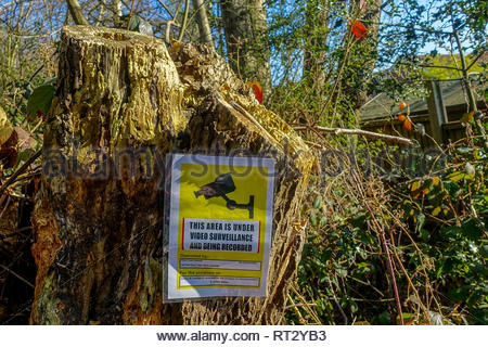 Video Surveillance warning sign erected in a public park in Fleet, Hampshire, UK - Stock Image