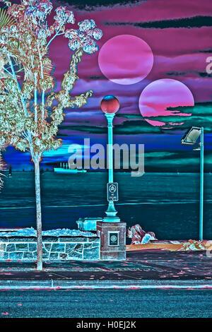 City bay sunset  eerie scenery. Photography digitally enhanced. - Stock Image