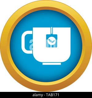 Cup of tea icon blue vector isolated - Stock Image