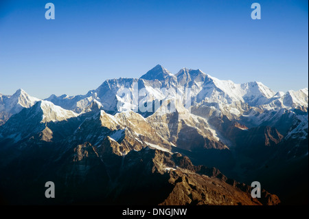 The Himalayan mountain range with Mount Everest in the middle - Stock Image