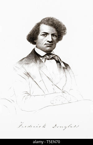 An engraved frontispiece of Frederick Douglass (1818-1895), from the 1845 edition of Narrative of the Life of Frederick Douglass, An American Slave - Stock Image