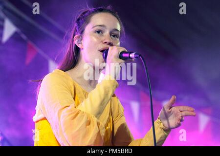 Sigrid, pop singer from Norway, performing live a British music festival. Sigrid Solbakk Raabe, Sigrid vocalist, Sigrid 2017. - Stock Image